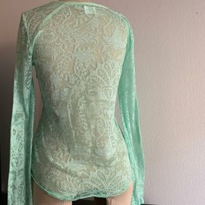 Free People Tops - Free People Green Intimate Long Sleeve Top Size M